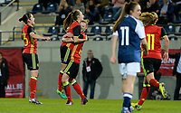 20170411 - LEUVEN ,  BELGIUM : Belgian Tessa Wullaert pictured celebrating her goal and the 3-0 lead for Belgium with teammate Yana Daniels (middle) during the friendly female soccer game between the Belgian Red Flames and Scotland , a friendly game in the preparation for the European Championship in The Netherlands 2017  , Tuesday 11 th April 2017 at Stadion Den Dreef  in Leuven , Belgium. PHOTO SPORTPIX.BE | DAVID CATRY