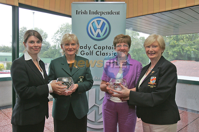 Irish Independent Lady Captains Golf Classic in Headford G.C...Louise Collins Presents Navan Kathleen Curtis and Breda McGuinness with First Place also Pictured Cecil Wheelan.Photo: Fran Caffrey/ Newsfile.