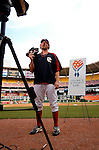 29 June 2005: Gary Majewski, pitcher for the Washington Nationals, sends a video greeting of support to the American troops in Iraq prior to a game against the Pittsburgh Pirates. The Nationals rallied to defeat the Pirates 3-2 in a rain delayed game at RFK Stadium in Washington, DC.  Mandatory Photo Credit: Ed Wolfstein