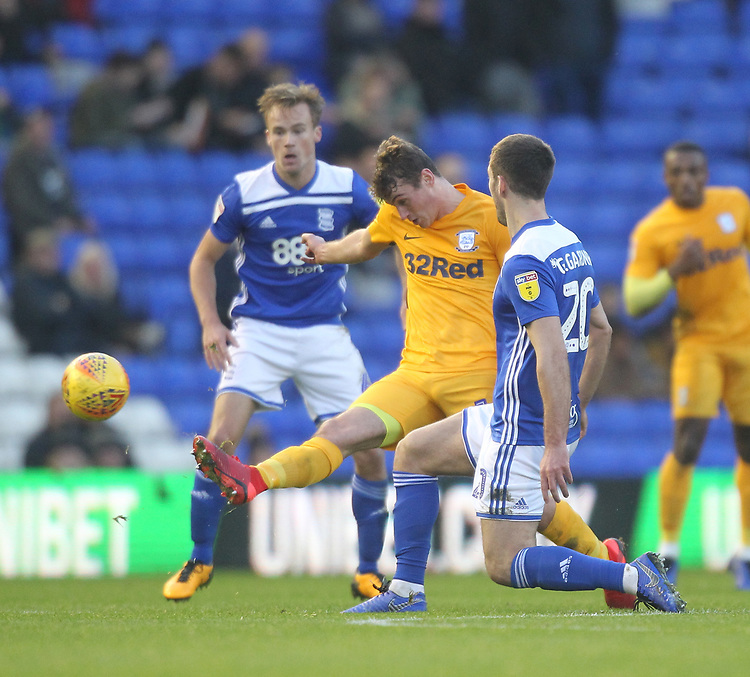 Preston North End's Ryan Ledson in action with Birmingham City's Gary Gardner <br /> <br /> Photographer Mick Walker/CameraSport<br /> <br /> The EFL Sky Bet Championship - Birmingham City v Preston North End - Saturday 1st December 2018 - St Andrew's - Birmingham<br /> <br /> World Copyright © 2018 CameraSport. All rights reserved. 43 Linden Ave. Countesthorpe. Leicester. England. LE8 5PG - Tel: +44 (0) 116 277 4147 - admin@camerasport.com - www.camerasport.com