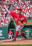 28 September 2014: Washington Nationals starting pitcher Jordan Zimmermann throwing his first career no-hitter against the Miami Marlins at Nationals Park in Washington, DC. The Nationals shut out the Marlins 1-0, caping the season with the first Nationals no-hitter in modern times. The win also notched a 96 win season for the Nats: the best record in the National League. Mandatory Credit: Ed Wolfstein Photo *** RAW (NEF) Image File Available ***