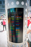 One of the new wayfinding kiosks that stand at either end of Restaurant Row in New York, West 46th street between 8th and 9th Avenues, on Tuesday May 16, 2017. At least four years in the making the illuminated kiosks show the names of the many eateries that populate the street. The unveiling is just in time for the Taste of Times Square event taking place on the street on June 5. (© Richard B. Levine)