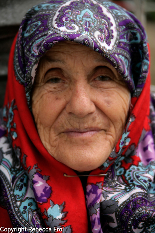Old woman in headscarf, Istanbul, Turkey