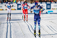 1st January 2020, Toblach, South Tyrol , Italy;  Iivo Niskanen of Finland finishes in the mens 15 km classic technique pursuit during Tour de Ski on January 1, 2020 in Toblach.