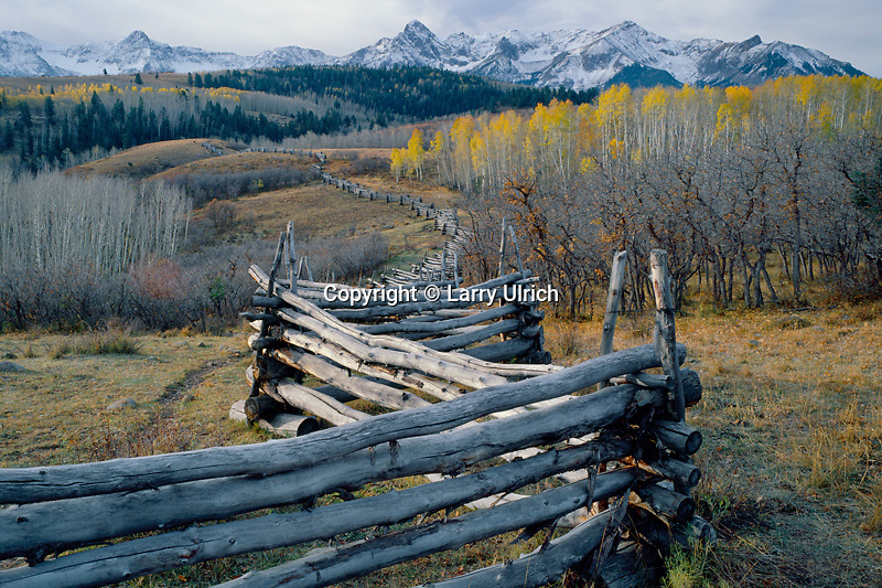 Aspen rail fence and the Sneffels Range<br />