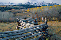 Aspen rail fence and the Sneffels Range<br />   from Dallas Divide<br /> San Juan Mountains<br /> Rocky Mountains,  Colorado