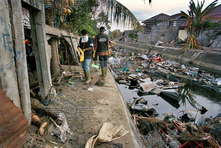 Volunteers search for bodies in the Pugee district, following the tsunami which struck South Asia on 26/12/2004..An underwater earthquake measuring 9 on the Richter scale triggered a series of tidal waves which caused devastation when they struck dry land. 12 countries were affected by the tsunami, with a combined death toll of over 280,000. Aceh, the closest landfall to the epicentre of the quake, suffered the greatest loss of life.