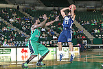 North Texas Mean Green Forward Jacob  Holmen (1) and Jackson State Tigers guard Phillip Williams (21) in action during the game between the Jackson State Tigers and the North Texas Mean Green at the Super Pit arena in Denton, Texas. UNT defeats Jackson State 83 to 65...