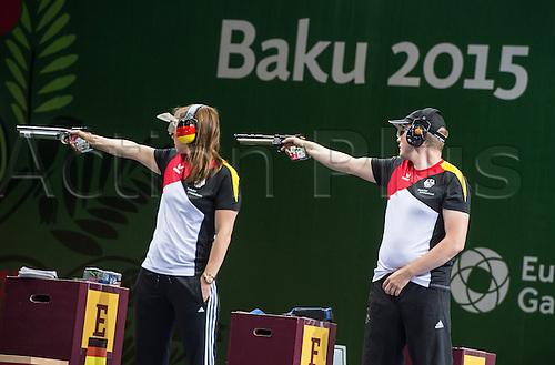 22.06.2015. Baku, Azerbaijan. 1st European Games. Germany's Monika Karsch and Christian Reitz compete in the Shooting - Mix Teams 10m Air Pistol final at the Baku 2015 European Games in Baku in Baku Shooting Center in Baku, Azerbaijan
