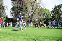 Dustin Johnson (USA), Justin Thomas (USA), and Rory McIlroy (IRL) make their way down 6 during round 4 of the World Golf Championships, Mexico, Club De Golf Chapultepec, Mexico City, Mexico. 3/5/2017.<br /> Picture: Golffile | Ken Murray<br /> <br /> <br /> All photo usage must carry mandatory copyright credit (&copy; Golffile | Ken Murray)