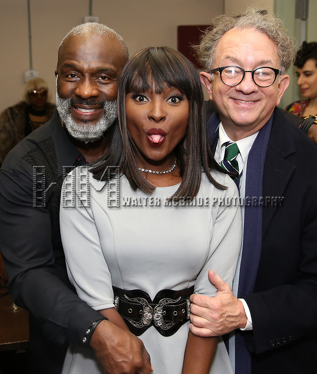 """BeBe Winans, Loren Lott and William Ivey Long backstage after a Song preview performance of the Bebe Winans Broadway Bound Musical """"Born For This"""" at Feinstein's 54 Below on November 5, 2018 in New York City."""