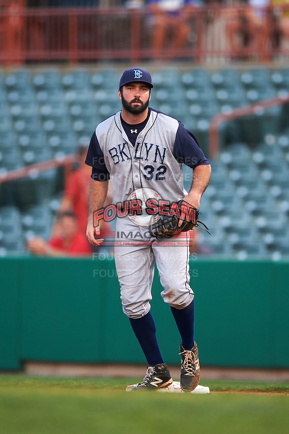 Brooklyn Cyclones first baseman Zach Mathieu (32) during a game against the Tri-City ValleyCats on September 1, 2015 at Joseph L. Bruno Stadium in Troy, New York.  Tri-City defeated Brooklyn 5-4.  (Mike Janes/Four Seam Images)