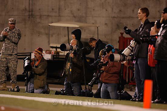 Salt Lake City - Utah vs. BYU college football Saturday, November 22, 2008 at Rice-Eccles Stadium.; 11.22.2008 scott sommerdorf. tom smart, mike terry, lennie mahler