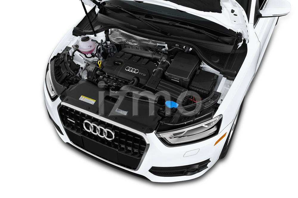 Car stock 2015 Audi Q3 Premium Plus 5 Door SUV engine high angle detail view