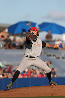 Andrew Leenhouts (39) of the Salem-Keizer Volcanoes pitches during a game against the Hillsboro Hops at Ron Tonkin Field on July 27, 2015 in Hillsboro, Oregon. Hillsboro defeated Salem-Keizer, 9-2. (Larry Goren/Four Seam Images)
