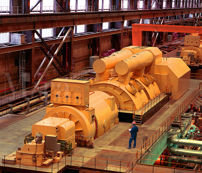 650 MW steam driven turbine in power station, with supervisor