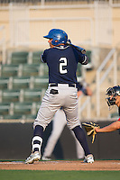 Yonathan Daza (2) of the Asheville Tourists at bat against the Kannapolis Intimidators at Kannapolis Intimidators Stadium on May 26, 2016 in Kannapolis, North Carolina.  The Tourists defeated the Intimidators 9-6 in 11 innings.  (Brian Westerholt/Four Seam Images)