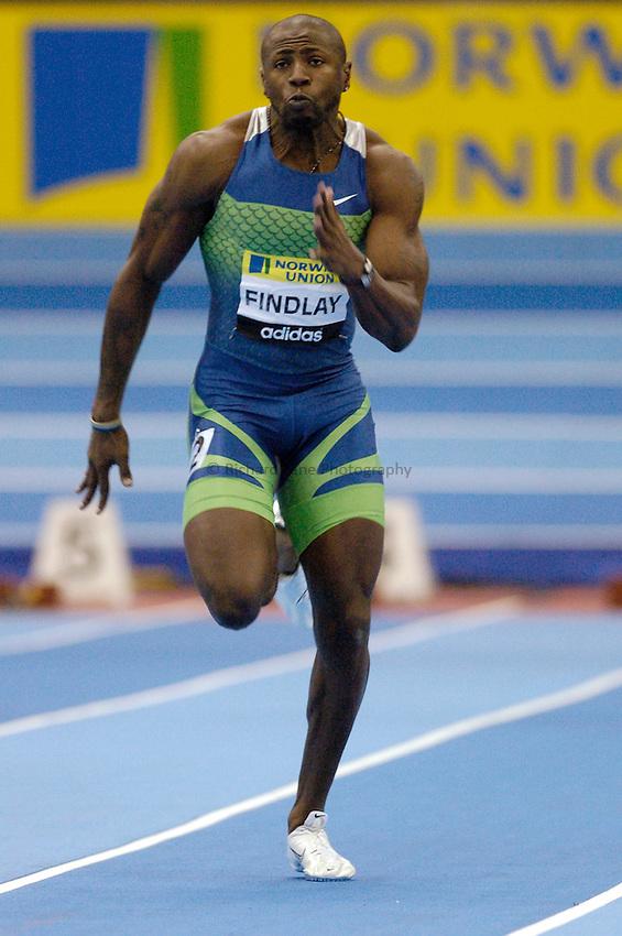 Photo: Richard Lane..Norwich Union Indoor Grand Prix, Birmingham. 17/02/2007. .Great Britain's Mark Findlay in a men's 60m heat.