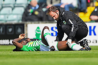Injury concern for Jordan Green of Yeovil Town during Yeovil Town vs Wycombe Wanderers, Sky Bet EFL League 2 Football at Huish Park on 14th April 2018