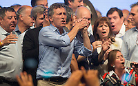 Argentina elected president Mauricio Macri sings and dance celebrating his victory in the run of over government candidate Daniel Scioli in Buenos Aires Sunday October 22 2015