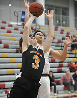 #3 Kyle Dosa<br /> The Occidental College men's basketball team plays against Claremont-Mudd-Scripps in the SCIAC Semi Final game on Friday, January 22, 2019 in Claremont.<br /> Oxy won, 64-62 in overtime and will go on to the final championship against Pomona-Pitzer on Saturday.<br /> (Photo by John Valenzuela, Freelance Photographer)