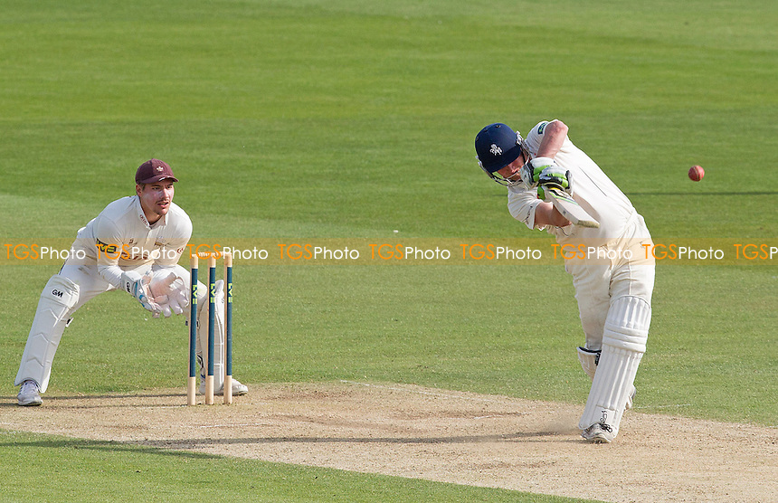 Rob Key of Kent CCC takes the aerial route during his century at Canterbury - Kent CCC vs Surrey CCC - LV County Championship Division Two Cricket at the Spitfire Ground, St Lawrence, Canterbury, Kent - 05/05/14 - MANDATORY CREDIT: Ray Lawrence/TGSPHOTO - Self billing applies where appropriate - 0845 094 6026 - contact@tgsphoto.co.uk - NO UNPAID USE