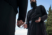 Mount Athos - The Holy Mountain.<br /> A monk seeks advice from The Abbot.<br /> <br /> Photographer: Rick Findler