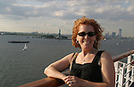 Guiding Light's Liz Keifer and the Statue of Liberty - Day 1 July 31, 2010 - So Long Springfield at Sea - A Final Farewell To Guiding Light sets sail from NYC to St. John, New Brunwsick and Halifax, Nova Scotia from July 31 to August 5, 2010  aboard Carnival's Glory (Photos by Sue Coflin/Max Photos)