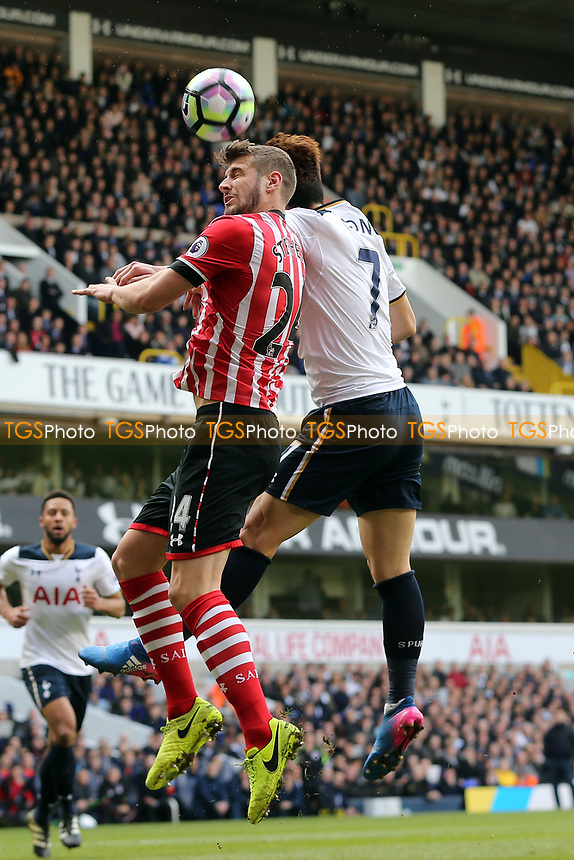 Son Heung-Min of Tottenham Hotspur and Jack Stephens of Southampton during Tottenham Hotspur vs Southampton, Premier League Football at White Hart Lane on 19th March 2017