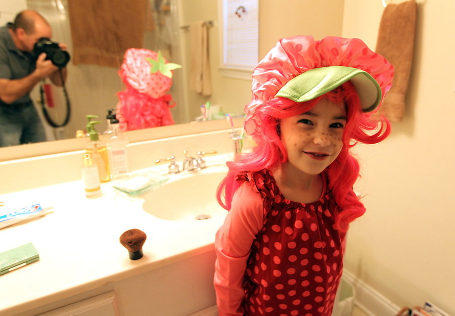 Ava Grey Shurtleff dressed as Strawberry Shortcake for Halloween in Charlottesville, VA. Photo/Andrew Shurtleff