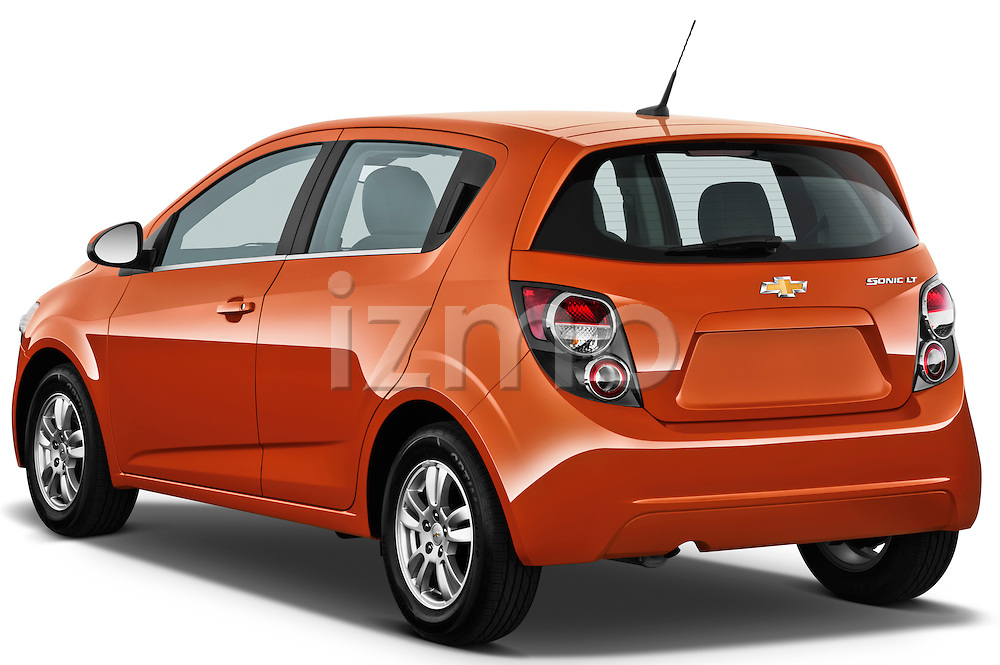 Rear three quarter view of 2012 Chevrolet Sonic LT 5 Door Stock Photo