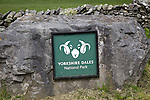 Sign for Yorkshire Dales national park, England, UK