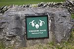 Sign for Yorkshire Dales national park, England, UK