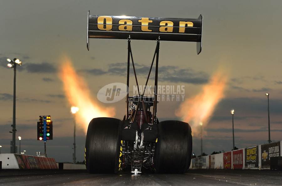 Jan. 16, 2013; Jupiter, FL, USA: NHRA top fuel dragster driver Khalid Albalooshi during testing at the PRO Winter Warmup at Palm Beach International Raceway.  Mandatory Credit: Mark J. Rebilas-