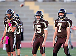 Torrance, CA 10/02/15 - Max Parish (West #12), \w15\ and Drake Peabody (West #7) in action during the Carson-West Torrance CIF varsity football game at West Torrance High School.  Carson defeated West Torrance 34-27.