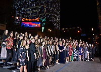 "LOS ANGELES, CA. November 08, 2018: Director Mimi Leder poses with over 80 fellow women filmmakers as the Hollywood Roosevelt Hotel is lit up with projections of their faces at the AFI Fest 2018 world premiere of ""On the Basis of Sex"" at the TCL Chinese Theatre.<br /> Picture: Paul Smith/FeatureflashLOS ANGELES, CA. November 08, 2018: Mimi Leder & Woman Filmmakers at the AFI Fest 2018 world premiere of ""On the Basis of Sex"" at the TCL Chinese Theatre.<br /> Picture: Paul Smith/Featureflash"