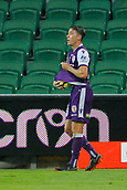 25th March 2018, nib Stadium, Perth, Australia; A League football, Perth Glory versus Melbourne Victory; Scott Neville of the Perth Glory dries the ball for a throw in during the second half