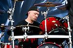 Jon Larsen of Volbeat performs during the 2013 Rock On The Range festival at Columbus Crew Stadium in Columbus, Ohio.