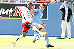 14 December 2008: Maryland's Jeremy Hall (17) and UNC's Zach Loyd (3). The University of Maryland Terrapins defeated the University of North Carolina Tar Heels 1-0 at Pizza Hut Park in Frisco, TX in the championship game of the 2008 NCAA Division I Men's College Cup.