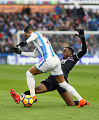 17th March 2018, The John Smiths Stadium, Huddersfield, England; EPL Premier League football, Huddersfield Town versus Crystal Palace; Aaron Wan-Bissaka of Crystal Palace tackles Thomas Ince of Huddersfield Town