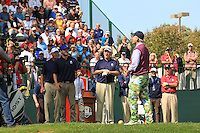 Singer Justin Timberlake 1991 Captain Dave Stockton and Actor Bill Murray on the 1st  during the Captain/Celebrity scramble exhibition at the Ryder Cup 2012, Medinah Country Club,Medinah, Illinois,USA.Picture: Fran Caffrey/www.Golffile.ie.