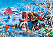 Marcello, CHRISTMAS ANIMALS, WEIHNACHTEN TIERE, NAVIDAD ANIMALES,tractor,winterlandsscape, paintings+++++,ITMCXM2193,#xa#