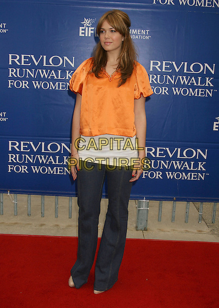 MANDY MOORE.14th Annual Entertainment Industry Foundation Revlon Run/Walk For Women held at The Los Angeles Memorial Coliseum, Los Angeles, California, USA,.12 May 2007..full length orange satin white top flared jeans .CAP/ADM/RE.©Russ Elliot/AdMedia/Capital Pictures.