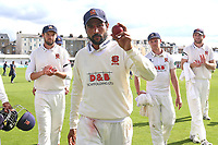 Mohammad Amir of Essex raises the ball to the crowd having taken 10 wickets in the match during Yorkshire CCC vs Essex CCC, Specsavers County Championship Division 1 Cricket at Scarborough CC, North Marine Road on 7th August 2017