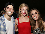 "Corey Cott, Lili Reinhart and Laura Osnes backstage at Broadway's ""Bandstand"" at the Bernard Jacobs Theate on May 19, 2017 in New York City."