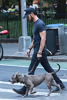NEW YORK, NY - JULY 9: Justin Theroux  seen walking his dog on July 9, 2018 in New York City. <br /> CAP/MPI/DC<br /> &copy;DC/MPI/Capital Pictures