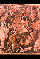 Roman Art:  Mosaic--Fish, Rays, Octopuses, etc.  National Museum, Naples.