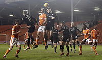 Blackpool's Ben Heneghan battles with Barnsley's Liam Lindsay<br /> <br /> Photographer Rich Linley/CameraSport<br /> <br /> The EFL Sky Bet League One - Blackpool v Barnsley - Saturday 22nd December 2018 - Bloomfield Road - Blackpool<br /> <br /> World Copyright &copy; 2018 CameraSport. All rights reserved. 43 Linden Ave. Countesthorpe. Leicester. England. LE8 5PG - Tel: +44 (0) 116 277 4147 - admin@camerasport.com - www.camerasport.com