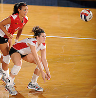 20 November 2008:  Western Kentucky libero Kelly Hofmeyer (2) prepares to return the ball during the WKU 3-0 victory over Denver in the first round of the Sun Belt Conference Championship tournament at FIU Stadium in Miami, Florida.