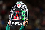 Referee holds the Tag Heuer Substitution Board during the 2018 FIFA World Cup Russia Asian Qualifiers Final Qualification Round Group A match betwen Korea Republic and Uzbekistan at the Seoul World Cup Stadium on 15 November 2016 in Seoul, South Korea. Photo by Victor Fraile / Power Sport Images